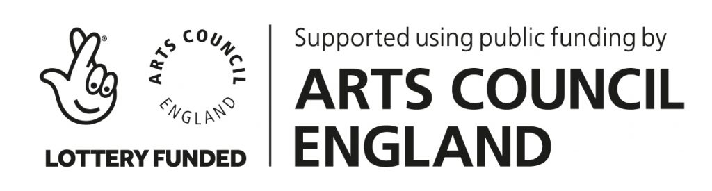 Logo of Arts Council of England. Lottery Funded. Supported using public funding by Arts Council England
